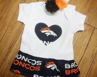 Denver Broncos, Infant, Onesie Dress. All NFL and College Teams Available.
