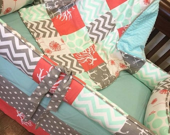 Mint, Coral, Grey Baby bedding