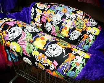 Sugar Skulls, Day of the Dead, Los Novios, Shopping Cart Cover. Several colors to choose from
