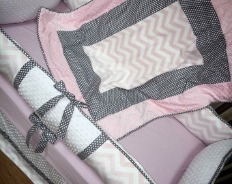 Baby Pink Chevron, Grey Polka Dot, Crib Set. You design. Several Colors Available.