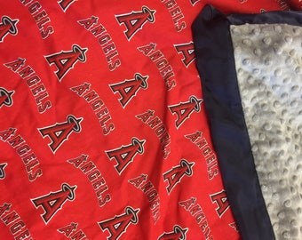MLB Angels, minky, baby blanket.