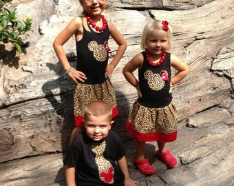 Safari, Minnie Mouse Dress, Mickey Mouse Tie Shirt, Sibling Set.