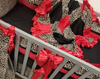 Baby girl crib bedding. Cheetah baby bedding. Leopard baby bedding. Safari baby bedding.