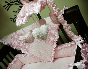 Baby Pink, Satin Rosette, Crib Mobile. Custom your own. You choose fabric.