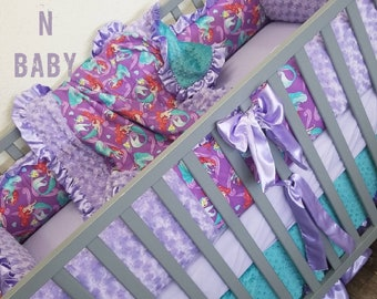 Little Mermaid Crib Set. Little Mermaid baby bedding. Little mermaid nursery. Baby girl nursery. Little Mermaid.