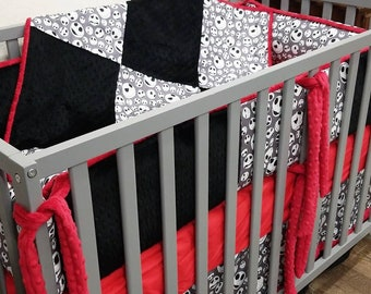 Custom Crib Set. Made with Jack Skellington fabric