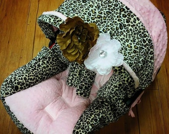 Cheetah, Baby Pink, Minky, Infant Car Seat Replacement Cover. You choose colors.
