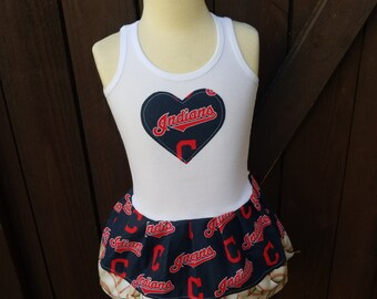 Baseball Dress. Made with Cleveland Indians fabric