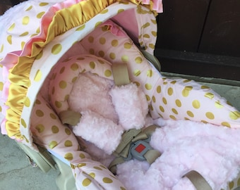 Baby Pink, Gold, Infant Car Seat Replacement Cover. You choose colors.