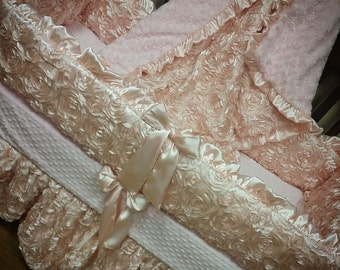 Blush, Satin, Rosette Crib Set.