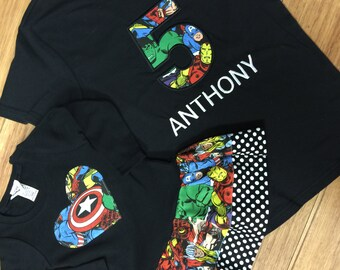 Superhero birthday tshirt. Sister Dress included. Sibling Set.
