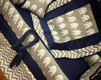 Grey Elephant Crib Set. You design. Several Colors Available. NAVY.