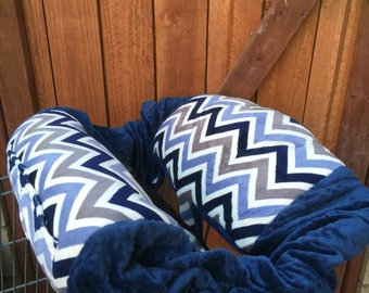 Shopping Cart Cover. Navy. Grey. Blue. Chevron.
