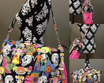 Sugar Skulls, Diaper bag. Messenger style, converts to backpack. Any fabric you want.