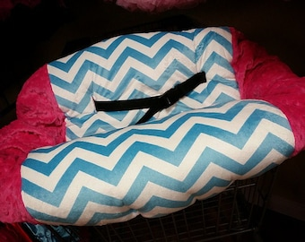 Aqua Chevron, Fuchsia, Minky, Shopping Cart Cover. Several other colors available to choose from.