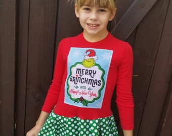 Girls Christmas Dress. Merry Grinchmas