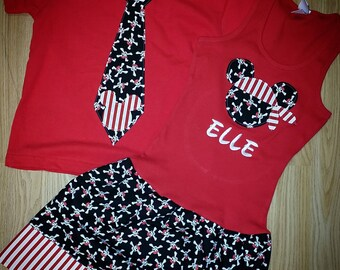 Pirate Minnie Mouse Dress. Pirate Mickey Mouse Shirt. Sibling set.