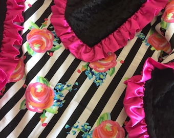 Black white stripe, Floral, baby Blanket.