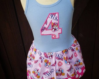 Custom made dress with licensed character fabric. Paw Patrol