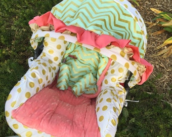 Mint, Coral, Gold, Infant Car Seat Replacement Cover. You choose colors.