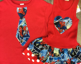 Spiderman Dress, Spiderman Shirt, Sibling Set.