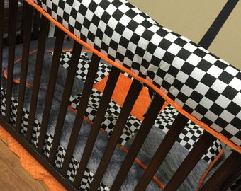 Crib, Teething, Rail Guard. Checkered Flag