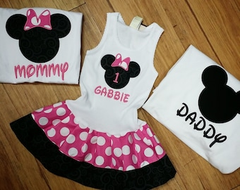 FAMILY, Minnie Mouse, Mickey Mouse Shirt, Dress Set. PINK