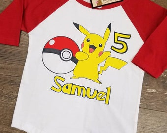 Birthday shirt. Birthday raglan. Custom tshirts. Pikachu shirt. Pikachu birthday shirt. Pokemon party. Custom kids.