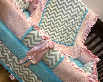 Grey Chevron, Aqua, Pink,  Crib Set.