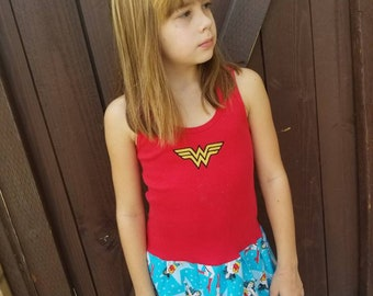 Girls Custom Dress. Wonder Woman dress. Superhero dress. Girl Power Dress
