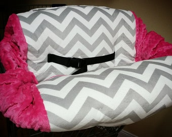 Grey Chevron, Fuchsia, Minky, Shopping Cart Cover. Several other colors available to choose from.