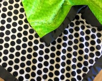 Polka Dot baby blanket. Minky