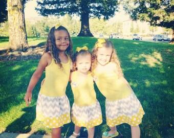 Yellow & Grey Chevron Dress