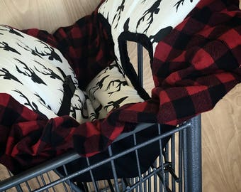 Deer, Plaid, Buck head, lumberjack, shopping cart cover