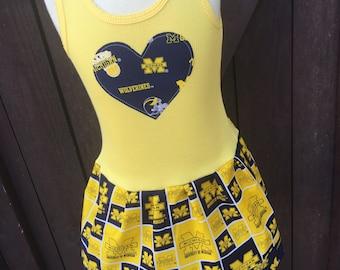 Girls Dress. Created with Michigan Wolverines fabric