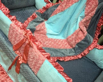 Coral, Grey, Mint, Minky, Crib Set.
