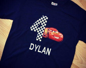 Custom, Lightning Mcqueen, Birthday Shirt.