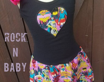 Girls Custom Dress. Superhero dress. Girl Power Dress. Batgirl Dress. Superwoman dress. Wonder woman dress.