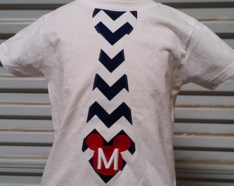 Mickey Mouse, Tie Shirt. Navy Chevron, Red.