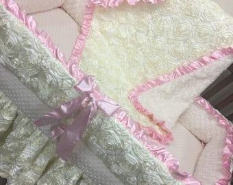 Baby girl crib bedding. Pink baby bedding. Ivory baby bedding. Rosette baby bedding. Custom Crib bedding. Pink and Ivory baby bedding
