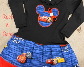 Girls dress. Lightning Mcqueen dress. Cruz dress. Cars 3 dress. Long sleeve