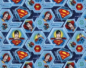 Superman Cotton fabric. Superman Octagon Face mask fabric. DC comics fabric