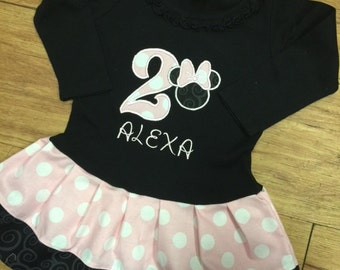 Minnie Mouse Dress. Baby Pink. Black. Personalized. LONG SLEEVE