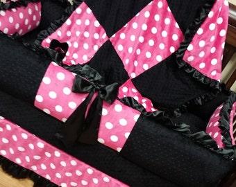 Hot Pink, Polka Dot, Crib Set. You design. Several Colors Available.