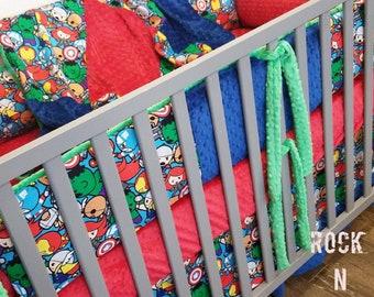 Baby boy nursery. Superhero nursery. Superhero baby bedding. Baby Avengers baby bedding.