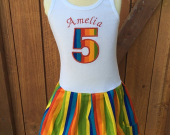 Rainbow dress. Rainbow birthday.