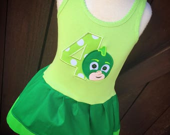 Custom Dress. PJ Mask Themed. Owlett. Catboy. Gekko. Personalized