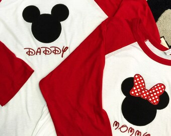 Minnie Mouse, Mickey Mouse Raglans. Any color available. SET OF 2.