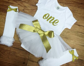 Gold & White, One, Birthday Set.