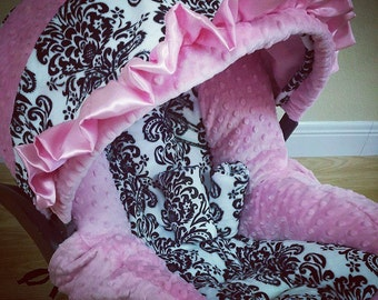 Damask, Minky, Infant Car Seat Replacement Cover. You choose colors.